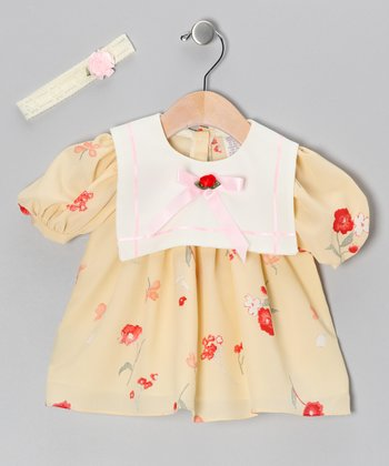 Cream Chiffon Flower Dress & Headband - Infant, Toddler & Girls