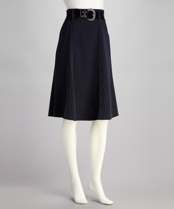 Navy Stripe Belted Skirt