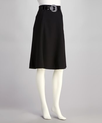 Black Stripe Belted Skirt