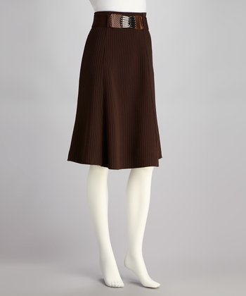 Brown Stripe Belted Skirt