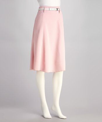Light Pink Stripe Belted Skirt