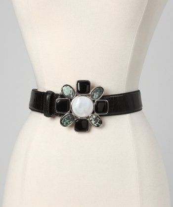 Black Floral Shell Leather Belt