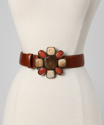 Brown Floral Shell Leather Belt