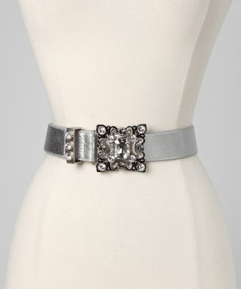 Silver & Swarovski Crystal Milled Leather Belt