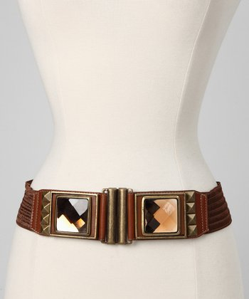 Brown Pyramid Studded Leather Waist Belt
