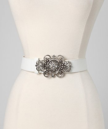 White & Swarovski Crystal Leather Belt