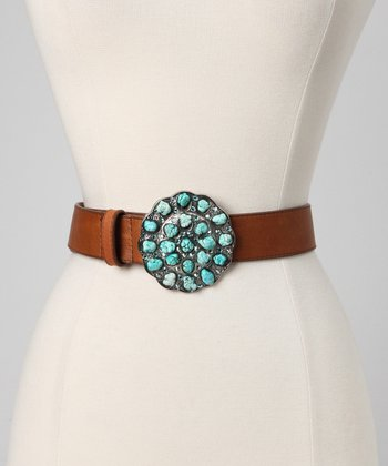 Rusty Brown & Swarovski Crystal Leather Belt