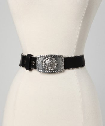 Black & Antiqued Silver Leather Belt