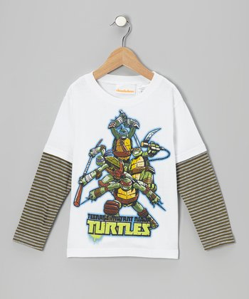 White & Brown Stripe TMNT Layered Tee - Kids