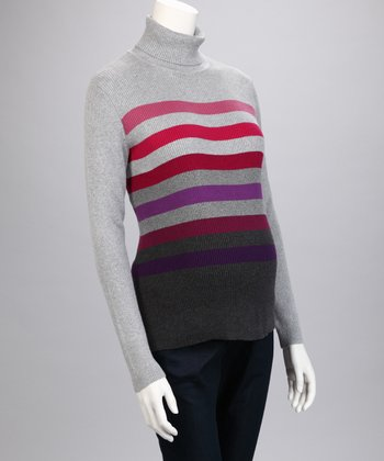 Gray & Pink Stripe Maternity Turtleneck Sweater