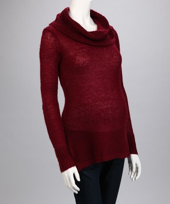 Burgundy Cowl Neck Maternity Sweater