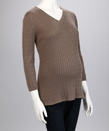Brown Cable Knit Maternity Sweater