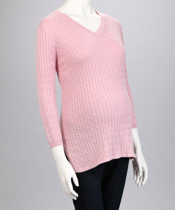 Pink Cable Knit Maternity Sweater