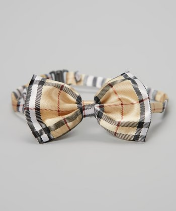 Gold & Black Plaid Bow Tie