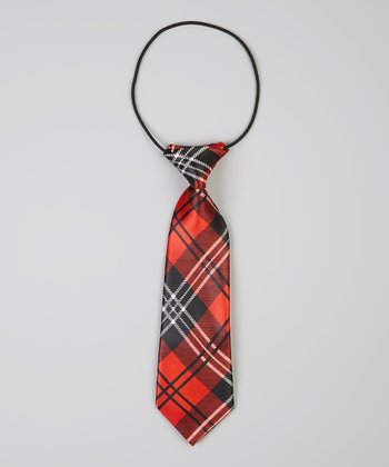 Red & Black Plaid Tie