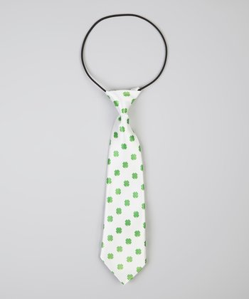 White & Green Shamrock Tie