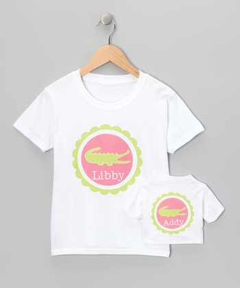 Pink & Green Alligator Tee & Doll Tee - Toddler & Girls