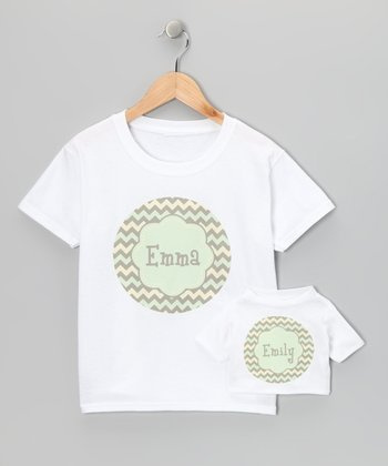 Green & Tan Zigzag Personalized Tee & Doll Tee - Toddler & Girls
