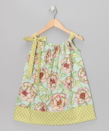 Lime & Light Blue Flower Swing Dress - Infant, Toddler & Girls