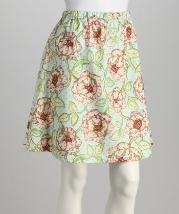 Lime & Light Blue Flower Skirt - Women
