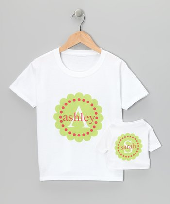 Green & Pink Scallop Personalized Tee & Doll Tee - Toddler & Girl
