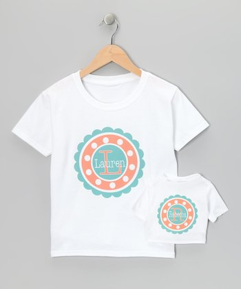 Orange & Teal Personalized Tee & Doll Tee - Toddler & Girls