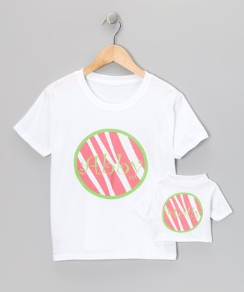 Pink & Green Zebra Personalized Tee & Doll Tee - Toddler & Girls