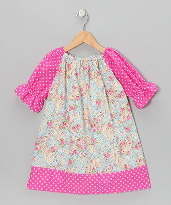 Pink Flower Peasant Dress - Toddler & Girls