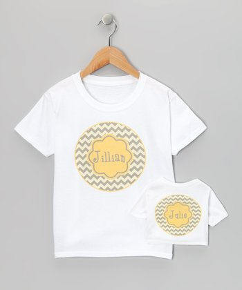Yellow & Gray Zigzag Personalized Tee & Doll Tee - Toddler & Girl