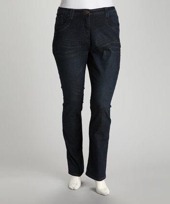 Dark Wash Whiskered Plus-Size Bootcut Jeans