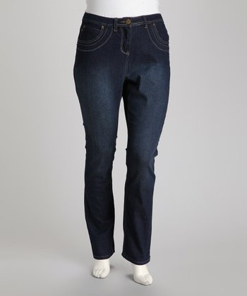 Dark Blue Plus-Size Bootcut Jeans