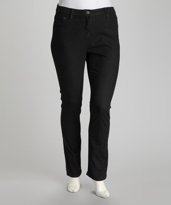 Black Plus-Size Bootcut Jeans