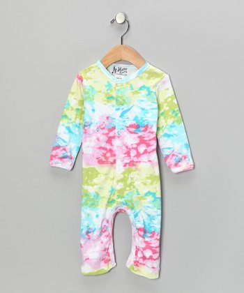 Pink & Green Paint Splotch Playsuit - Infant