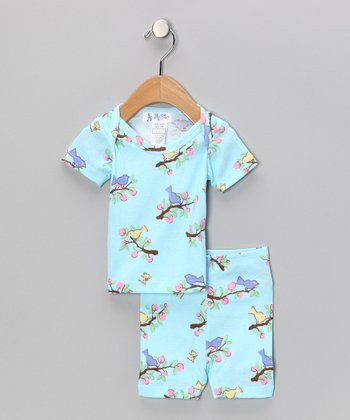 Light Blue Bird Pajama Set - Infant