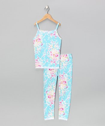 Turquoise Cab Rose Pajama Set - Girls