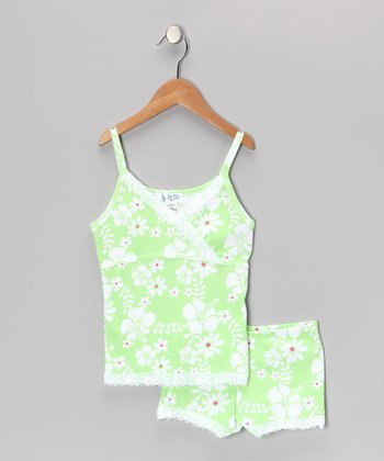 Lime Daisy Pajama Set - Girls