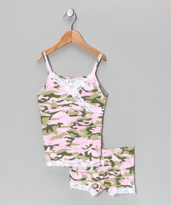 Pink Camo Pajama Set - Girls