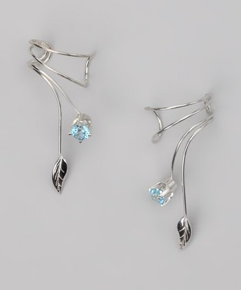 Silver Blue Topaz Leaf Wrap Earrings