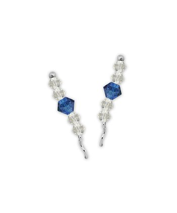 Tanzanite Swarovski Crystal & Sterling Silver Ear Pin Earrings