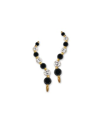 Black Cubic Zirconia & Gold Journey Ear Pin Earrings