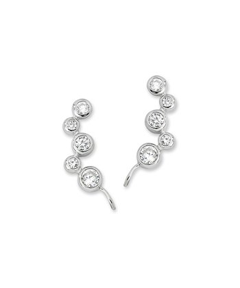 Cubic Zirconia & Silver Bubble Ear Pin Earrings