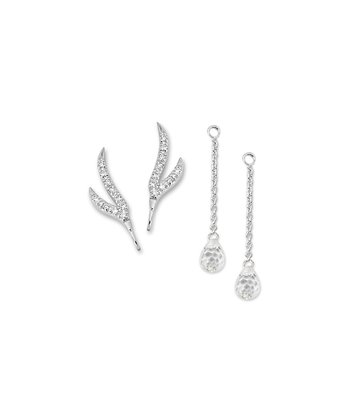 Cubic Zirconia Double Branch Enhancer & Ear Pin Earrings