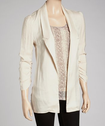 Natural Chiffon-Back Blazer
