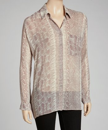 Lilac Snakeskin Button-Up