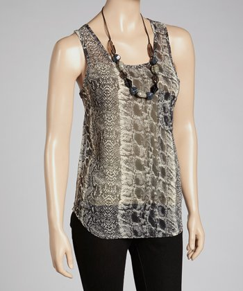 Black Snakeskin Sheer Tank
