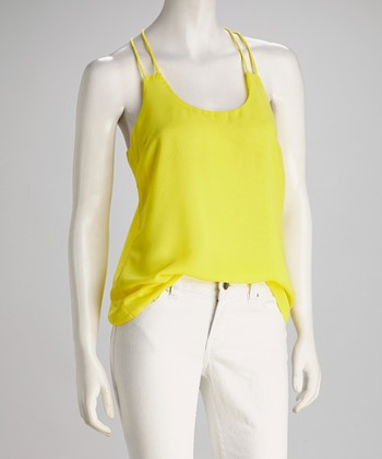 Yellow Double-Strap Racerback Tank
