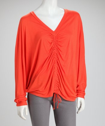 Orange Ruched Top