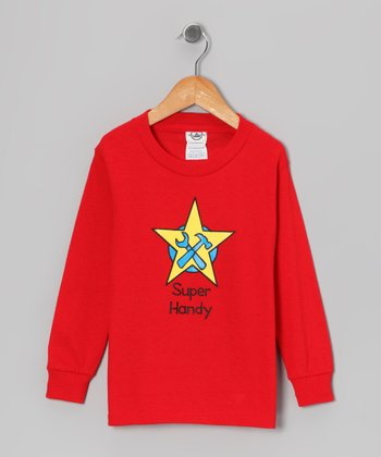 Red 'Super Handy' Long-Sleeve Tee - Toddler & Kids