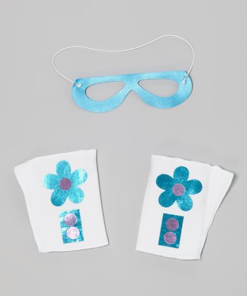 White & Ocean Blue Flower Mask & Cuffs