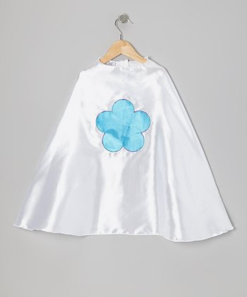 White & Ocean Blue Flower Cape
